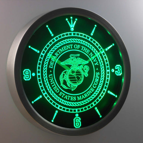 US Marine Corps LED Neon Wall Clock - Green - SafeSpecial