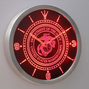 US Marine Corps LED Neon Wall Clock - Red - SafeSpecial