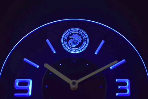 Image of US Marine Corps Modern LED Neon Wall Clock - Blue - SafeSpecial