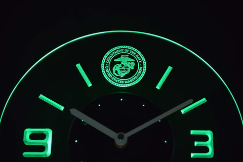 Image of US Marine Corps Modern LED Neon Wall Clock - Green - SafeSpecial
