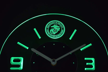 US Marine Corps Modern LED Neon Wall Clock - Green - SafeSpecial