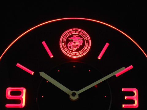 Image of US Marine Corps Modern LED Neon Wall Clock - Red - SafeSpecial
