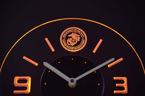 Image of US Marine Corps Modern LED Neon Wall Clock - Yellow - SafeSpecial