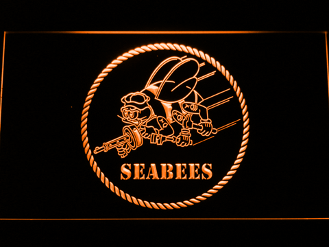 US Navy Seabees LED Neon Sign - Orange - SafeSpecial