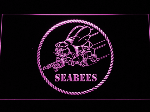 US Navy Seabees LED Neon Sign - Purple - SafeSpecial