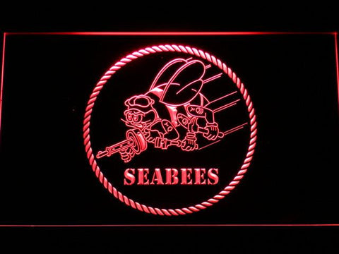 US Navy Seabees LED Neon Sign - Red - SafeSpecial