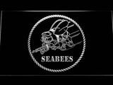 US Navy Seabees LED Neon Sign - White - SafeSpecial