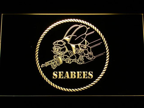 US Navy Seabees LED Neon Sign - Yellow - SafeSpecial