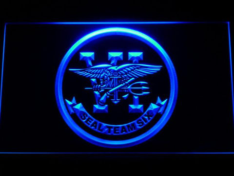 Image of US Navy SEAL Team 6 LED Neon Sign - Blue - SafeSpecial