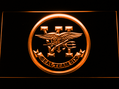 Image of US Navy SEAL Team 6 LED Neon Sign - Orange - SafeSpecial