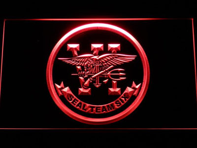 US Navy SEAL Team 6 LED Neon Sign - Red - SafeSpecial