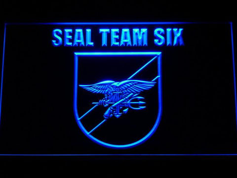 Image of US Navy SEAL Team 6 Shield LED Neon Sign - Blue - SafeSpecial
