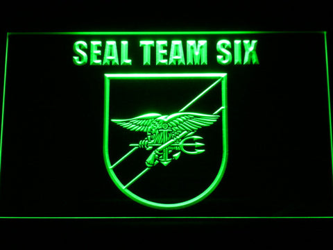 Image of US Navy SEAL Team 6 Shield LED Neon Sign - Green - SafeSpecial