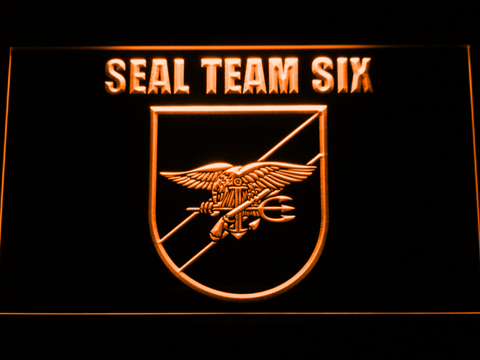 Image of US Navy SEAL Team 6 Shield LED Neon Sign - Orange - SafeSpecial