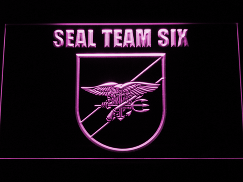 Image of US Navy SEAL Team 6 Shield LED Neon Sign - Purple - SafeSpecial