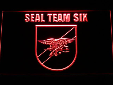Image of US Navy SEAL Team 6 Shield LED Neon Sign - Red - SafeSpecial