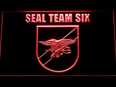 US Navy SEAL Team 6 Shield LED Neon Sign - Red - SafeSpecial