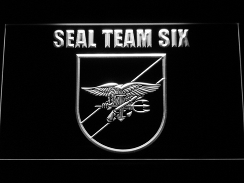 Image of US Navy SEAL Team 6 Shield LED Neon Sign - White - SafeSpecial