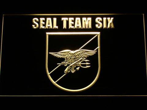 Image of US Navy SEAL Team 6 Shield LED Neon Sign - Yellow - SafeSpecial