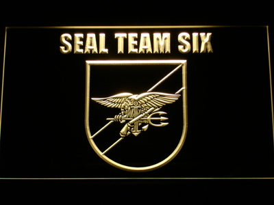 US Navy SEAL Team 6 Shield LED Neon Sign - Yellow - SafeSpecial
