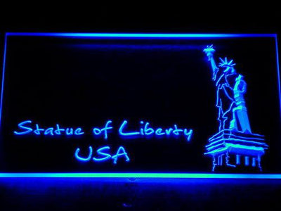 USA Statue Of Liberty LED Neon Sign - Blue - SafeSpecial