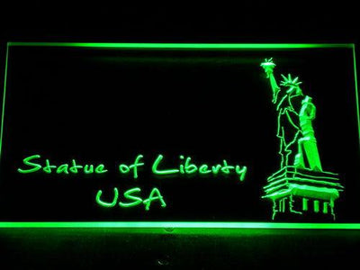 USA Statue Of Liberty LED Neon Sign - Green - SafeSpecial