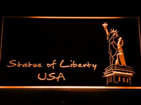 Image of USA Statue Of Liberty LED Neon Sign - Orange - SafeSpecial