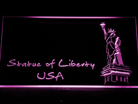 Image of USA Statue Of Liberty LED Neon Sign - Purple - SafeSpecial