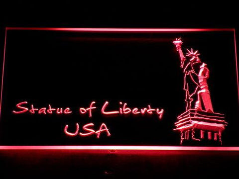 Image of USA Statue Of Liberty LED Neon Sign - Red - SafeSpecial