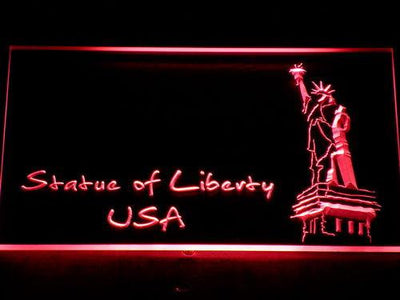 USA Statue Of Liberty LED Neon Sign - Red - SafeSpecial