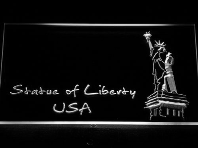 USA Statue Of Liberty LED Neon Sign - White - SafeSpecial