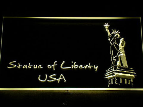 Image of USA Statue Of Liberty LED Neon Sign - Yellow - SafeSpecial
