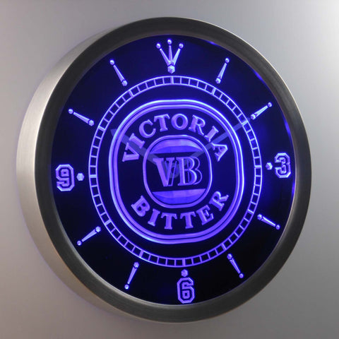 Image of Victoria Bitter LED Neon Wall Clock - Blue - SafeSpecial