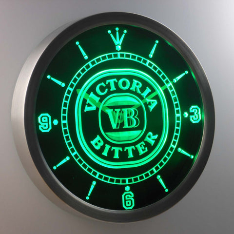 Image of Victoria Bitter LED Neon Wall Clock - Green - SafeSpecial