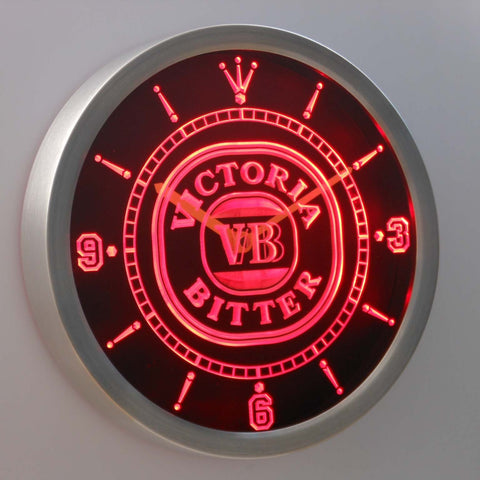 Image of Victoria Bitter LED Neon Wall Clock - Red - SafeSpecial