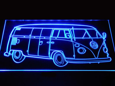 Volkswagen Bus LED Neon Sign - Blue - SafeSpecial
