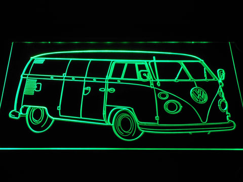 Image of Volkswagen Bus LED Neon Sign - Green - SafeSpecial