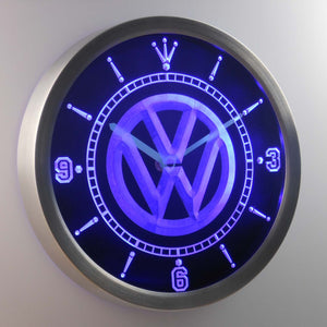 Volkswagen LED Neon Wall Clock - Blue - SafeSpecial