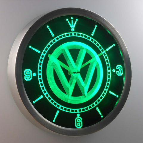 Volkswagen LED Neon Wall Clock - Green - SafeSpecial