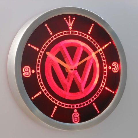 Volkswagen LED Neon Wall Clock - Red - SafeSpecial