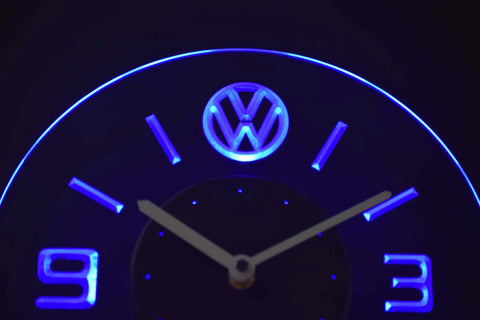 Volkswagen Modern LED Neon Wall Clock - Blue - SafeSpecial