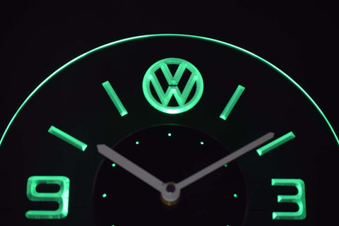 Volkswagen Modern LED Neon Wall Clock - Green - SafeSpecial