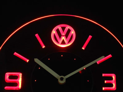 Volkswagen Modern LED Neon Wall Clock - Red - SafeSpecial