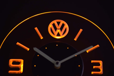 Volkswagen Modern LED Neon Wall Clock - Yellow - SafeSpecial