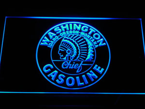 Washington Gasoline - Chief LED Neon Sign - Blue - SafeSpecial