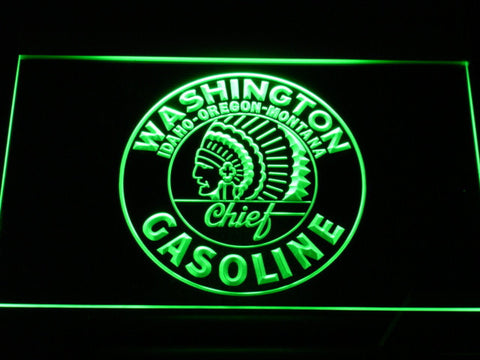 Washington Gasoline - Chief LED Neon Sign - Green - SafeSpecial