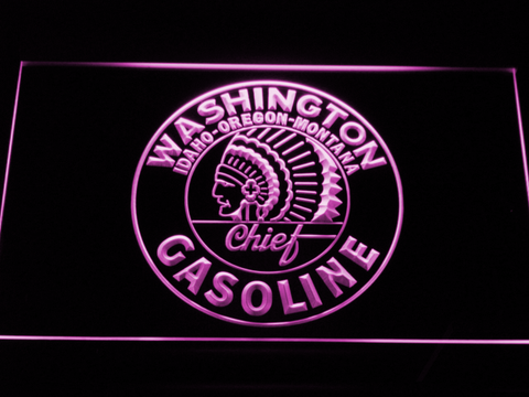 Washington Gasoline - Chief LED Neon Sign - Purple - SafeSpecial