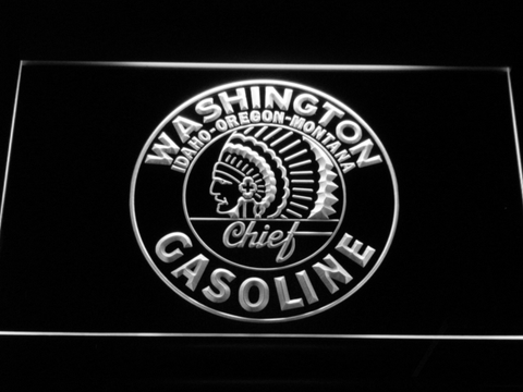 Washington Gasoline - Chief LED Neon Sign - White - SafeSpecial