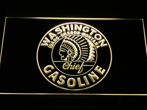 Washington Gasoline - Chief LED Neon Sign - Yellow - SafeSpecial