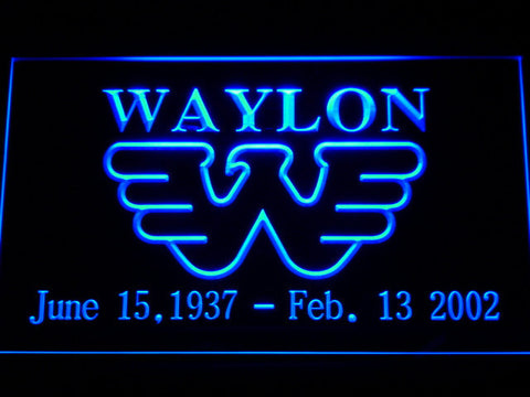Waylon Jennings LED Neon Sign - Blue - SafeSpecial